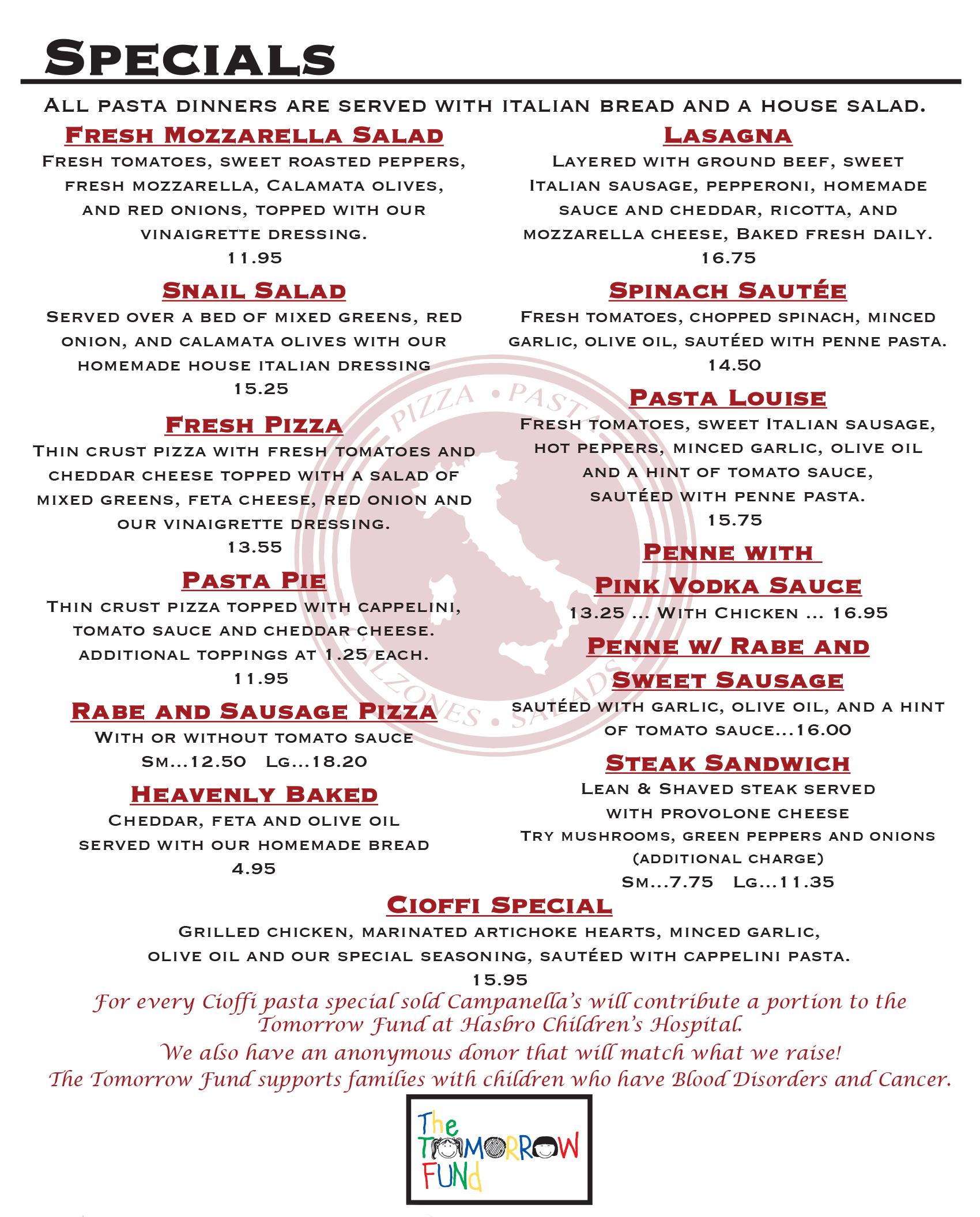 italian restaurant specials cranston ri