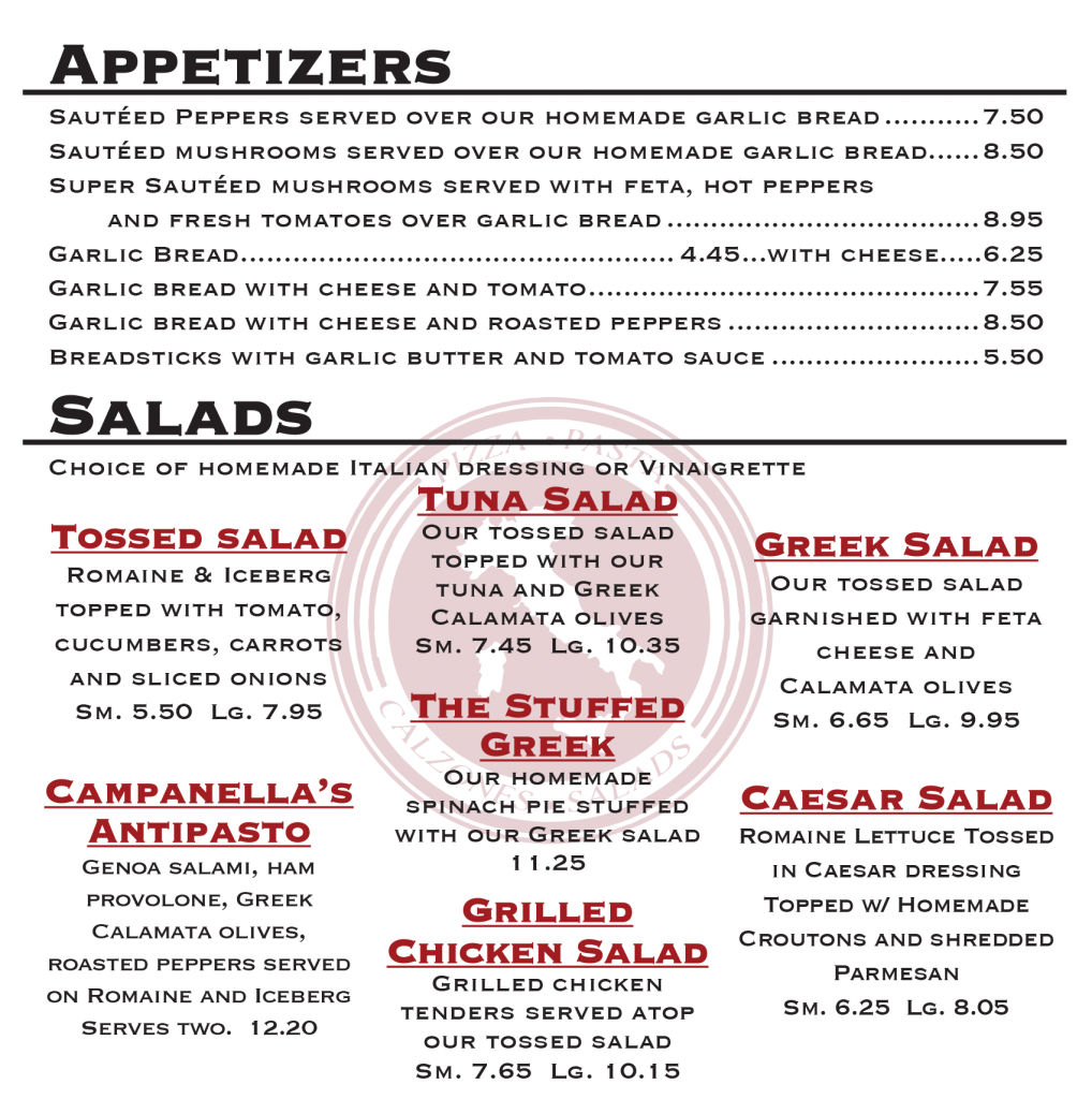 cranston ri starters and salads campanellas
